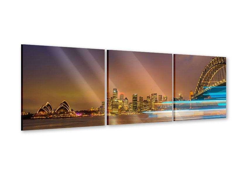 Panoramic 3 Piece Acrylic Print Skyline Opera House In Sydney In Evening Light