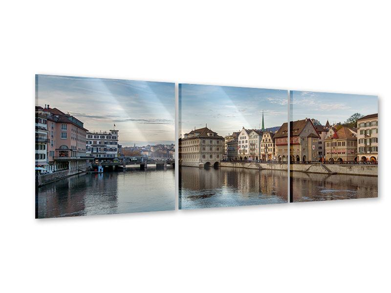 Panoramic 3 Piece Acrylic Print Cosmopolitan Zurich