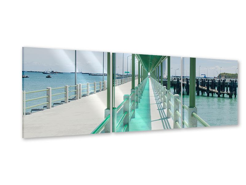 Panoramic 3 Piece Acrylic Print The Bridge On The Sea