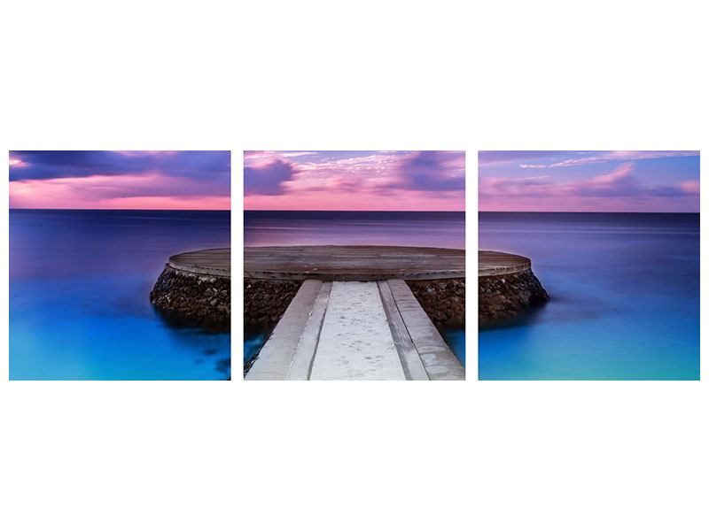 Panoramic 3 Piece Acrylic Print Meditation By The Sea