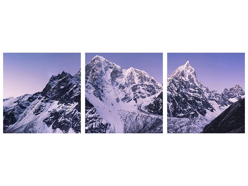 Panoramic 3 Piece Aluminium Print Taboche And Cholatse
