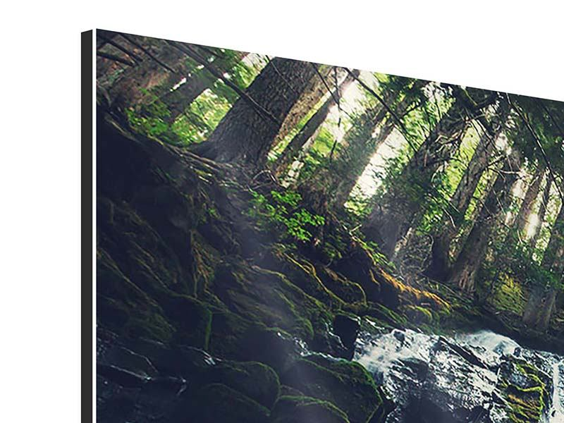 Panoramic 3 Piece Aluminium Print Feng Shui & Waterfall