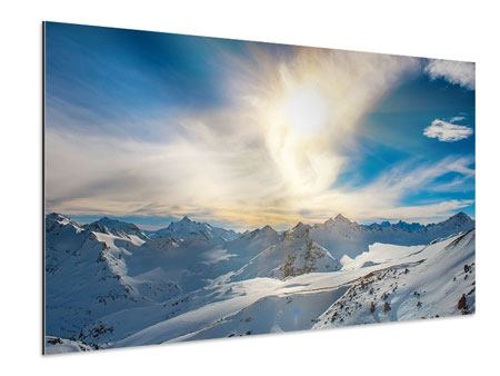Aluminium Print Over The Snowy Peaks
