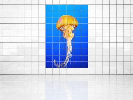 Tile Print Yellow Jellyfish