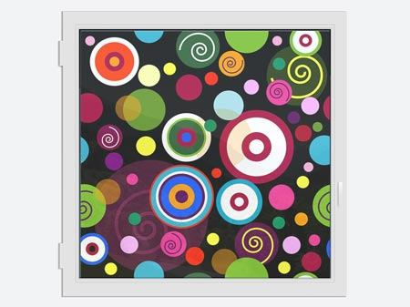 Window Print Colorful Retro Look Circles