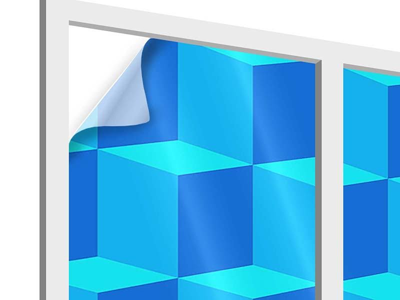 Window Print 3D Cube Turquoise