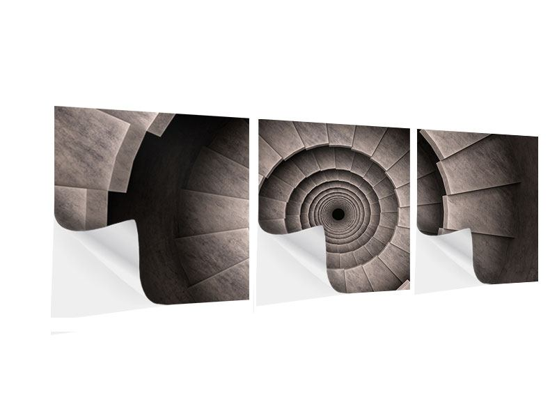 Panoramic 3 Piece Self-Adhesive Poster Stone Spiral Staircase