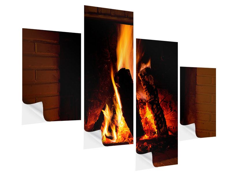 Modern 4 Piece Self-Adhesive Poster Fire In The Chimney