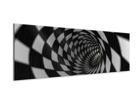 Panoramic Metallic Print Abstract Tunnel Black & White