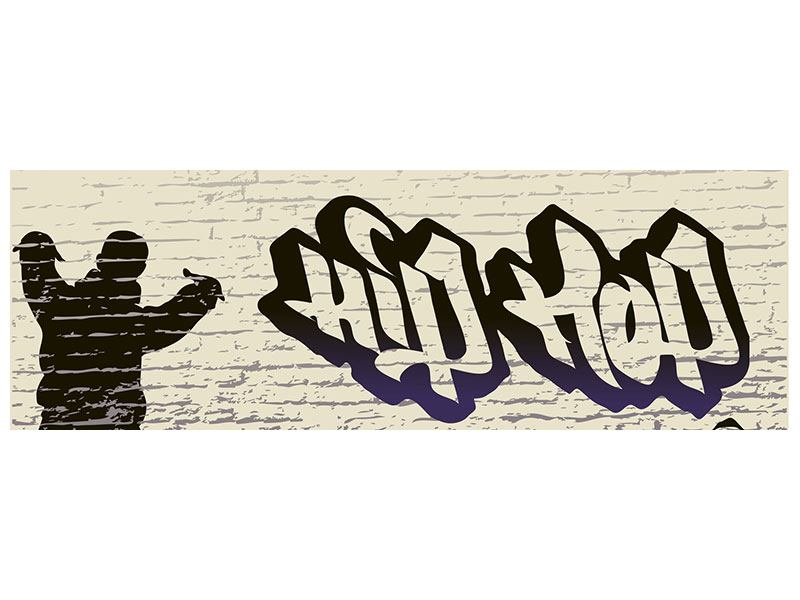 Panoramic Metallic Print Graffiti Hip Hop