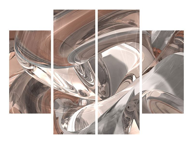 4 Piece Metallic Print Abstract Glass Tiles