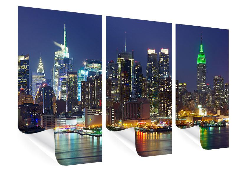 3 Piece Poster Skyline New York Midtown At Night