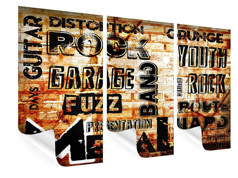 3 Piece Poster Rock In Grunge Style