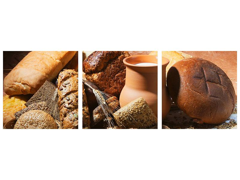 Panoramic 3 Piece Poster Breakfast Breads