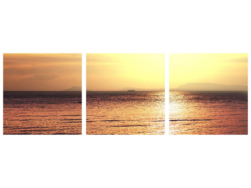 Panoramic 3 Piece Poster Sunset At The Lake