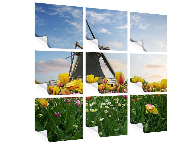 9 Piece Poster The Windmill With Tulips