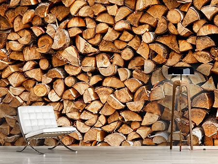 Photo Wallpaper Stacked Wood